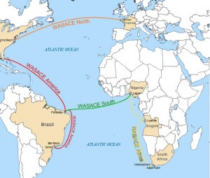 """""""WASACE submarine cable route map"""" by Cvdr - Derivated from. Licensed under Creative Commons Attribution-Share Alike 3.0 via Wikimedia Commons - http://commons.wikimedia.org/wiki/File:WASACE_submarine_cable_route_map.svg#mediaviewer/File:WASACE_submarine_cable_route_map.svg"""
