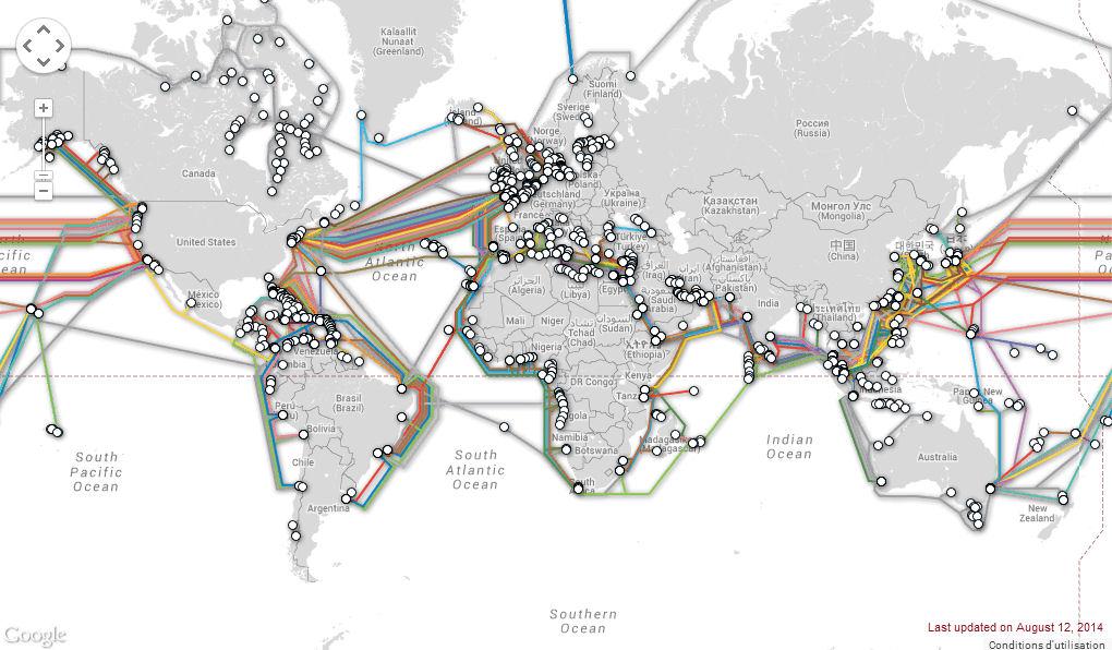 Carte des câbles sous-marin dans le monde.