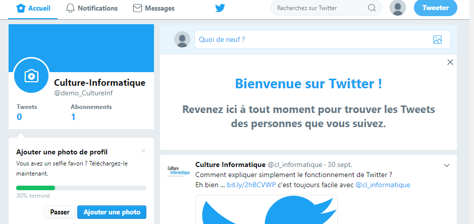 création compte twitter